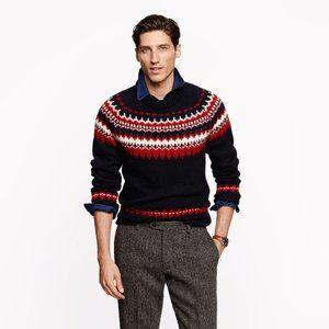 J. Crew Ramsey Fair Isle Sweater in Dark Navy for Men - Size Large